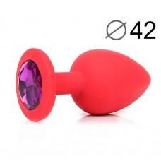Анальная втулка с фиолетовым кристаллом SEXY FRIEND Crystal красная 9,5 см