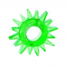 Эрекционное кольцо TOYFA с треугольными шипами зеленое